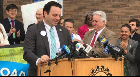 Paterson Mayor Andre Sayegh speaks at a press conference in Passaic, New Jersey about the U.S. Census and efforts to get an accurate count a day before the U.S Supreme Court hears oral arguments on whether the citizenship question should be included in the 2020 census.  April 22, 2019.