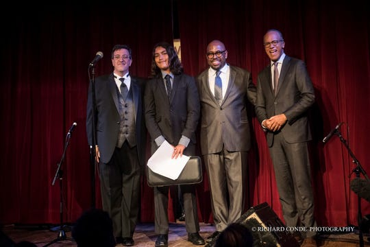 Seraj DeCaires, a freshman at Montclair High School, received the Jazz House Kids RS Berkeley Musician of Distinction Award at the nonprofit's Spring Gala at the City Winery in NYC. From left, Dennis Argul, Seraj DeCaires, Christian McBride, and NBC's Lester Holt.