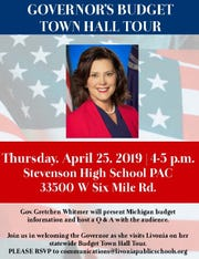 Gov. Gretchen Whitmer is coming to Livonia
