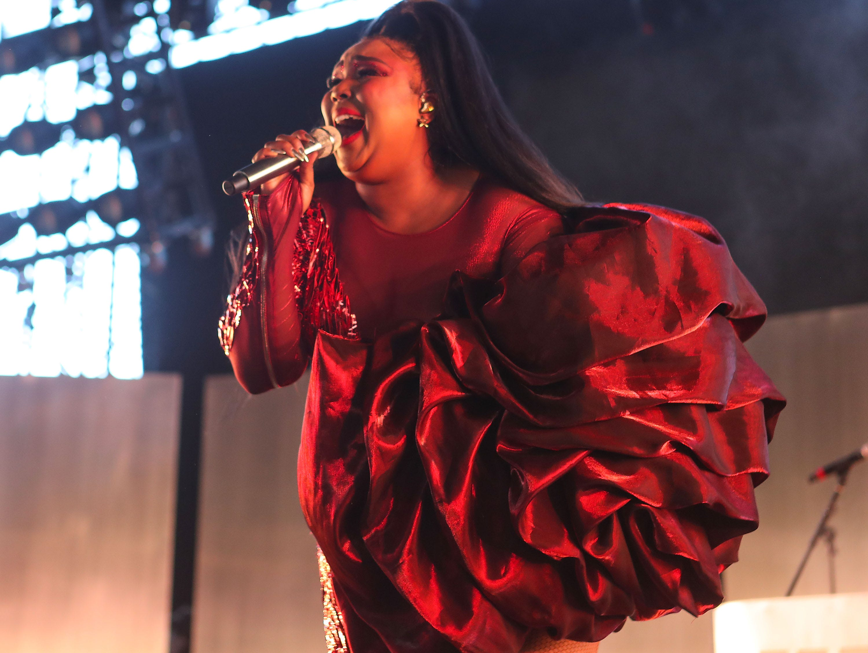 Lizzo performs at the Coachella Valley Music and Arts Festival in Indio, April 21, 2019.