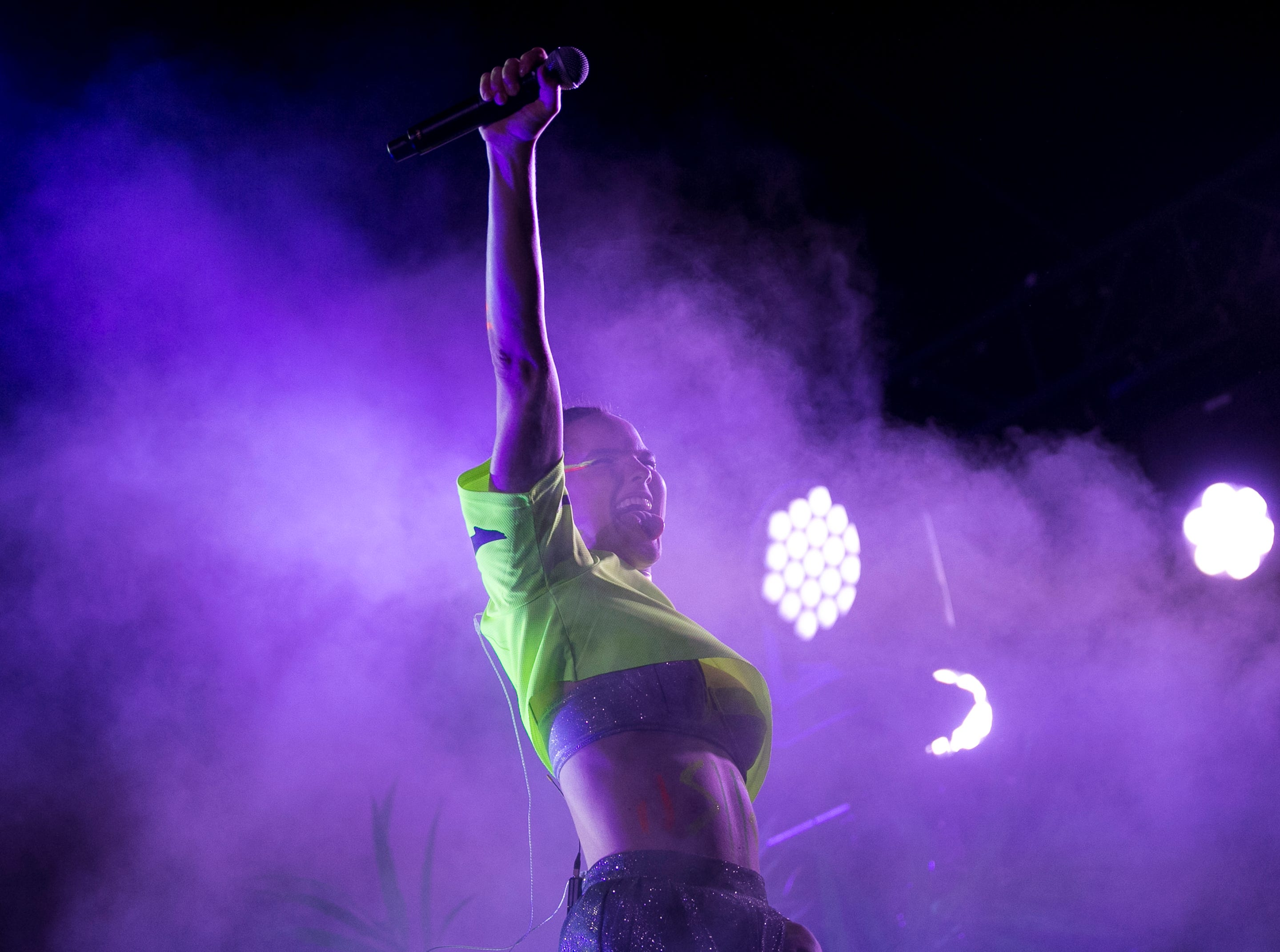 SOFI TUKKER perform at the Mojave stage the Coachella Valley Music and Arts Festival in Indio, Calif. on Sun. April 21, 2019.