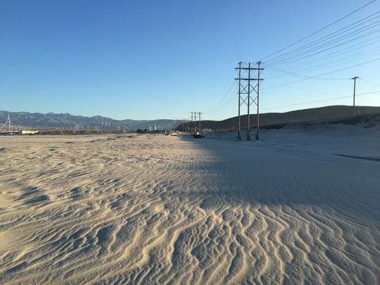 This April 22 photo shows Indian Canyon Drive at the Whitewater Wash. The road's closed several times since February due to blowing sand.