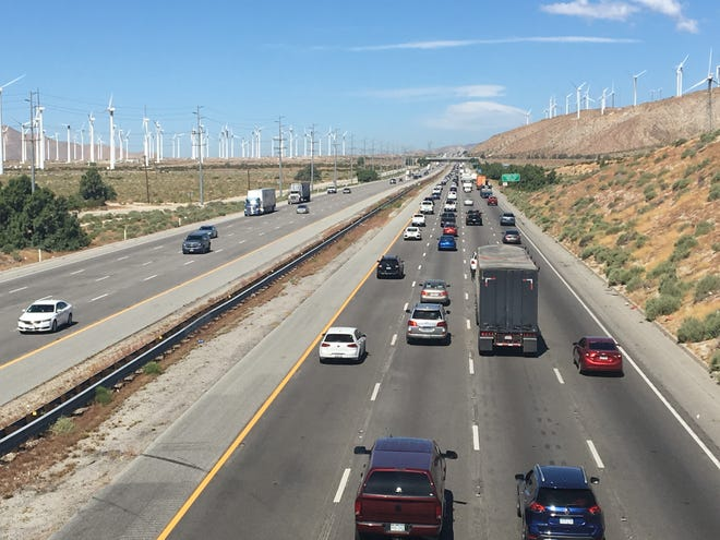 Traffic heads west on Interstate 10 on Monday April 22 following the 2019 Coachella Valley Music and Arts Festival's second weekend.