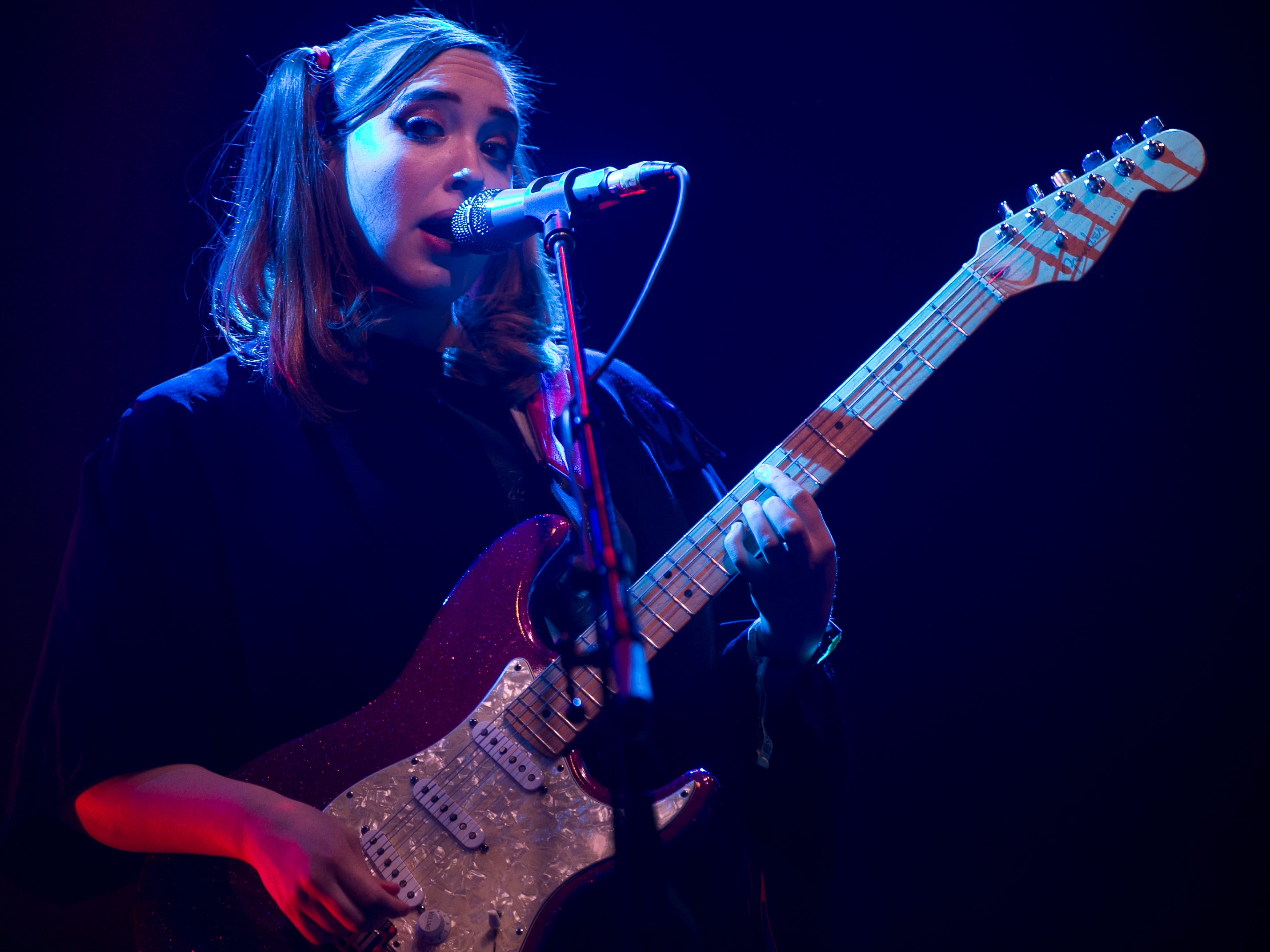 Soccer Mommy perform inside the Sonora tent at the Coachella Valley Music and Arts Festival in Indio, Calif. on Sun. April 21, 2019.