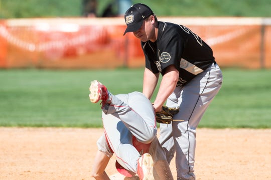 Biglerville's Tyler Weikert tags out Bermudian Springs' Tyler Sims on a steal attempt during a YAIAA baseball game Monday, April 22, 2019. Weikert was named the YAIAA Division IV Player of the Year as he hit .384 with a .505 on-base percentage and 17 RBIs in 23 games. He also posted a 3-0 record with 32 strikeouts in 20.1 innings over 10 appearances as a pitcher.