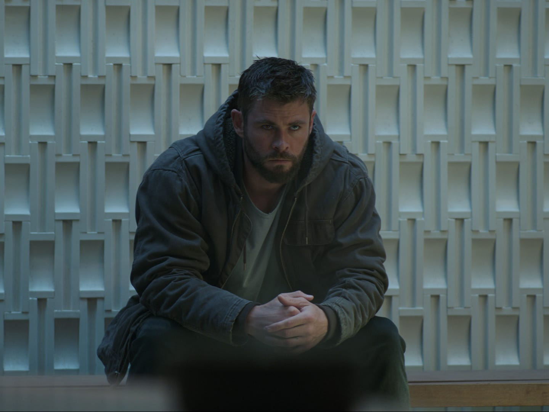 "Thor (Chris Hemsworth) is thinking things through in ""Avengers: Endgame."""