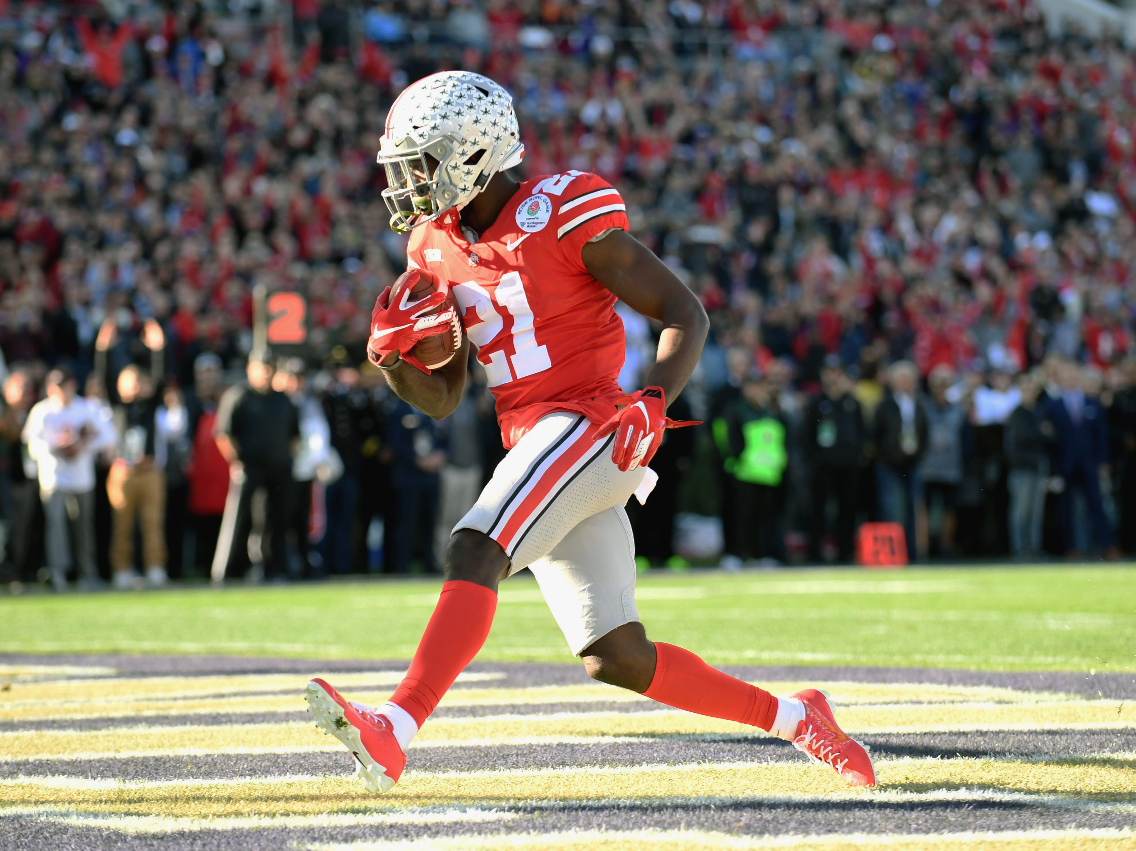 Ohio State receiver Parris Campbell makes a catch for a touchdown against Washington during the 2019 Rose Bowl.