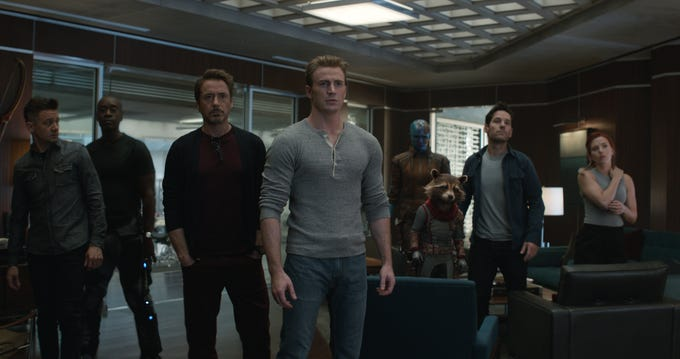 """Avengers: Endgame:"" features Jeremy Renner (from left), Don Cheadle, Robert Downey Jr.,  Chris Evans, Karen Gillan, Rocket, Paul Rudd and Scarlett Johansson."