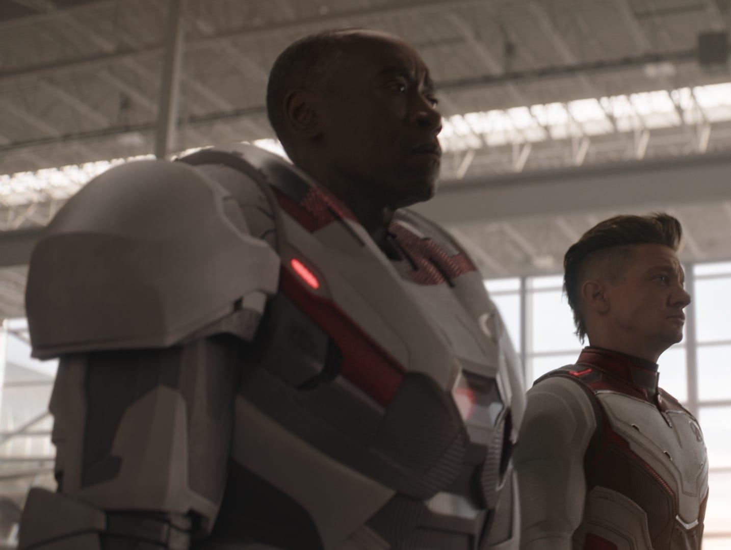 "Don Cheadle (left) and Jeremy Renner star in ""Avengers: Endgame."""