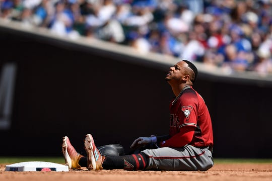 Ketel Marte #4 of the Arizona Diamondbacks reacts at second base after being called out in the fifth inning against the Chicago Cubs at Wrigley Field on April 21, 2019 in Chicago, Illinois.