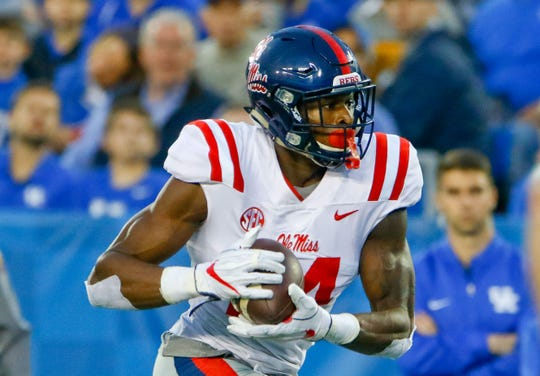 Ole Miss receiver D.K. Metcalf carries the ball during a game against Kentucky.