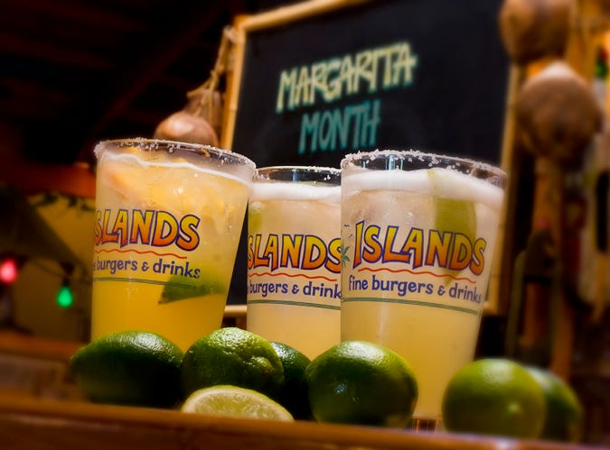 Islands, Desert Ridge Marketplace | Margarita Month is being celebrated all May with $2 off margs on the rocks and frozen, in flavors like Mangorita and Strawberry & Spicy. Deal not valid during happy hour. Details: Loop 101 and Tatum Boulevard, Phoenix. 480-513-7231, islandsrestaurants.com.