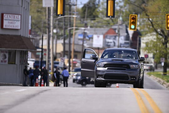 One person suffered a gunshot wound to the ear while in a car on the North George Street bridge in York City on Monday, April 22, 2019. (John A. Pavoncello photo)