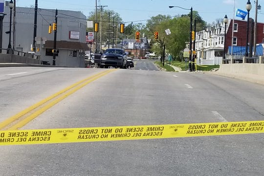 A person was shot in the ear while on the North George Street bridge in York City on Monday, April 22, 2019, city officials said. (John A. Pavoncello photo)