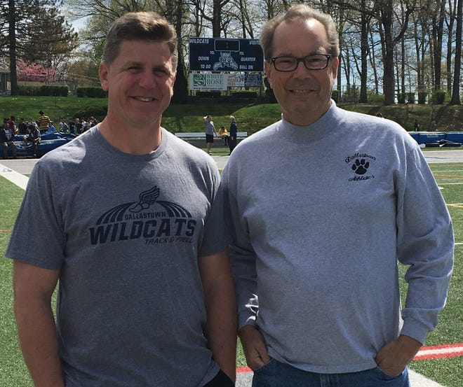 Current Dallastown head track-and-field coach Neil Gutekunst, left, is pictured with former Dallastown track-and-field head coach Ray Geesey. The Dallastown Invitational, which Geesey started in 1987, is being renamed the Ray Geesey Track and Field Invitational on Friday.