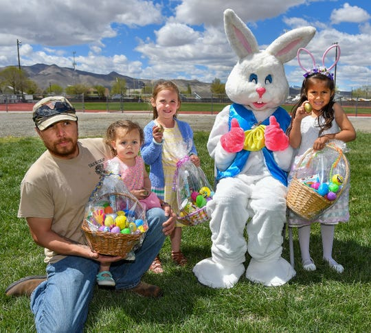 Golden egg winners are from left, Isabella Berumen, 2, of Smith Valley, held by her father Gilbert Berumen, Kennedy Fielding, 4, of Yerington, and Emma Meza, 5, of Yerington.