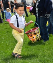 Uriah Martinez, 3, of Yerington, searches for Easter eggs.
