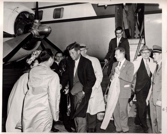 Sen. John F. Kennedy arrived at the Richmond Municipal airport on April 29, 1960, to wind up a whirlwind one-day Indiana campaign stumping for the presidency. Due to laryngitis, he could not speak.