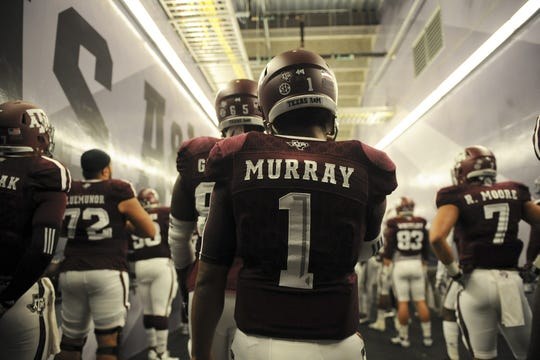 Kyler Murray of the Texas A&M Aggies prepares to take the field to face the Western Carolina Catamounts in an NCAA football game at Kyle Field on November 14, 2015 in College Station, Texas.
