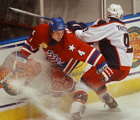"""Nathan Paetsch in action during the famed 2004-05 NHL lockout season, the last Rochester team to win a playoff series. The Amerks finished with franchise-record 112 points but lost in second round when injuries hit hard. """"We had a really good team, but the whole league was good that year,'' he said. """"A quarter of the league should've been in the NHL. We ran into some injuries come playoff time and it just didn't work out.''"""