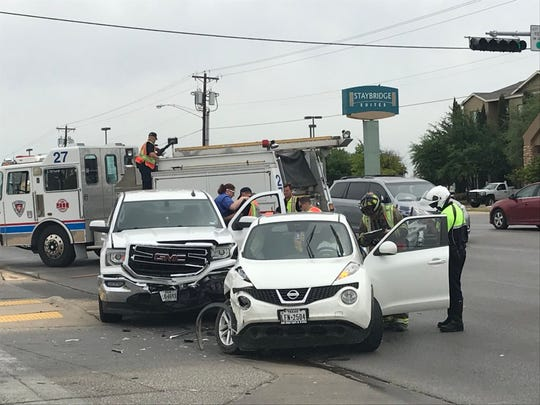 A collision between two vehicles interrupts traffic near the intersection of Knickerbocker and University Avenue, Monday, April 22, 2019.