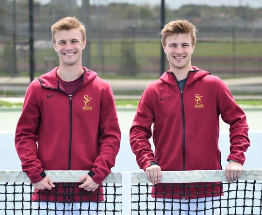 Salisbury University freshmen Matt (left) and Andrew Kilchenstein are identical twins on the men's tennis team.
