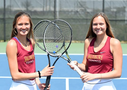 Freshmen Kathryn Allen (left) and Karlie Allen are fraternal twins on the Salisbury University women's tennis team.