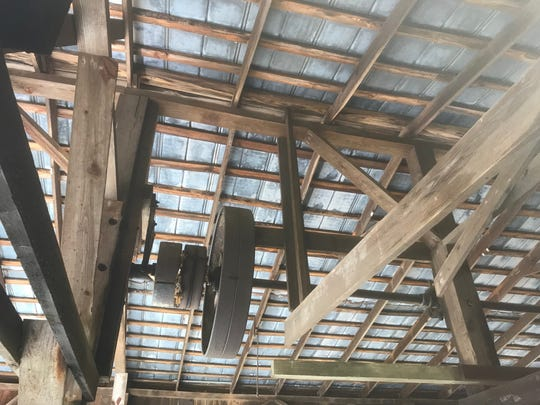 A system of pulley and drive shafts is still in place at the 1937 Nassawadox Sawmill in Nassawadox, Virginia, which the Peninsula Tractor Organization is working to open as a farm museum.