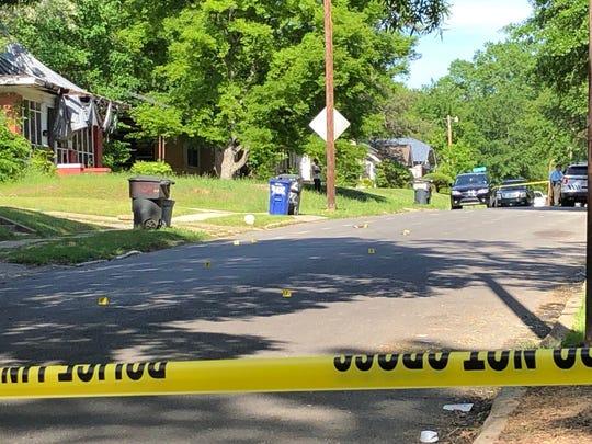 Crime scene in the 300 block of Wilkinson Street in Shreveport on April 22.