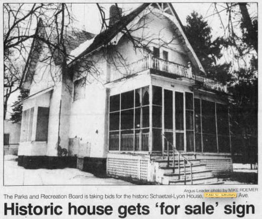 The Schaetzel-Lyon House was moved out of Lyon Park near downtown Sioux Falls in 1988.