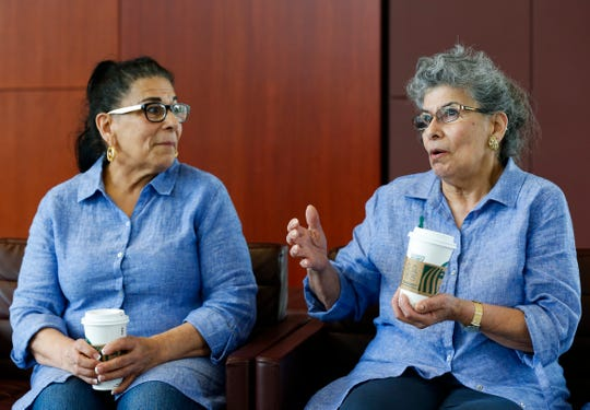 Twins Rosalie Turner (left) and RoseMarie Henson talk about being reunited after being separated for 60 years on Thursday, April 18, 2019. The sisters were split up and sent to different foster homes when they were 14.