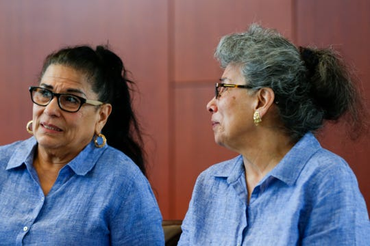 RoseMarie Henson (right) becomes emotional while talking about be reunited with her twin Rosalie Turner after being separated for 60 years on Thursday, April 18, 2019. The sisters were split up and sent to different foster homes when they were 14.