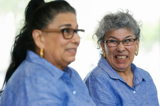 RoseMarie Henson (right) laughs while talking about being reunited with her twin Rosalie Turner after being separated for 60 years on Thursday, April 18, 2019. The sisters were split up and sent to different foster homes when they were 14.
