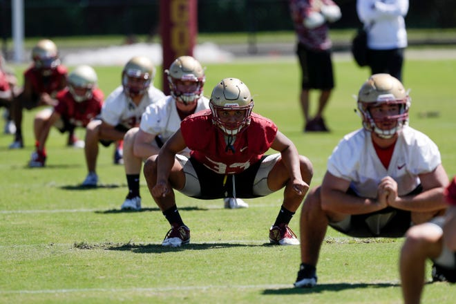 The Florida High football team held their first spring practice Monday, April 22, 2019.