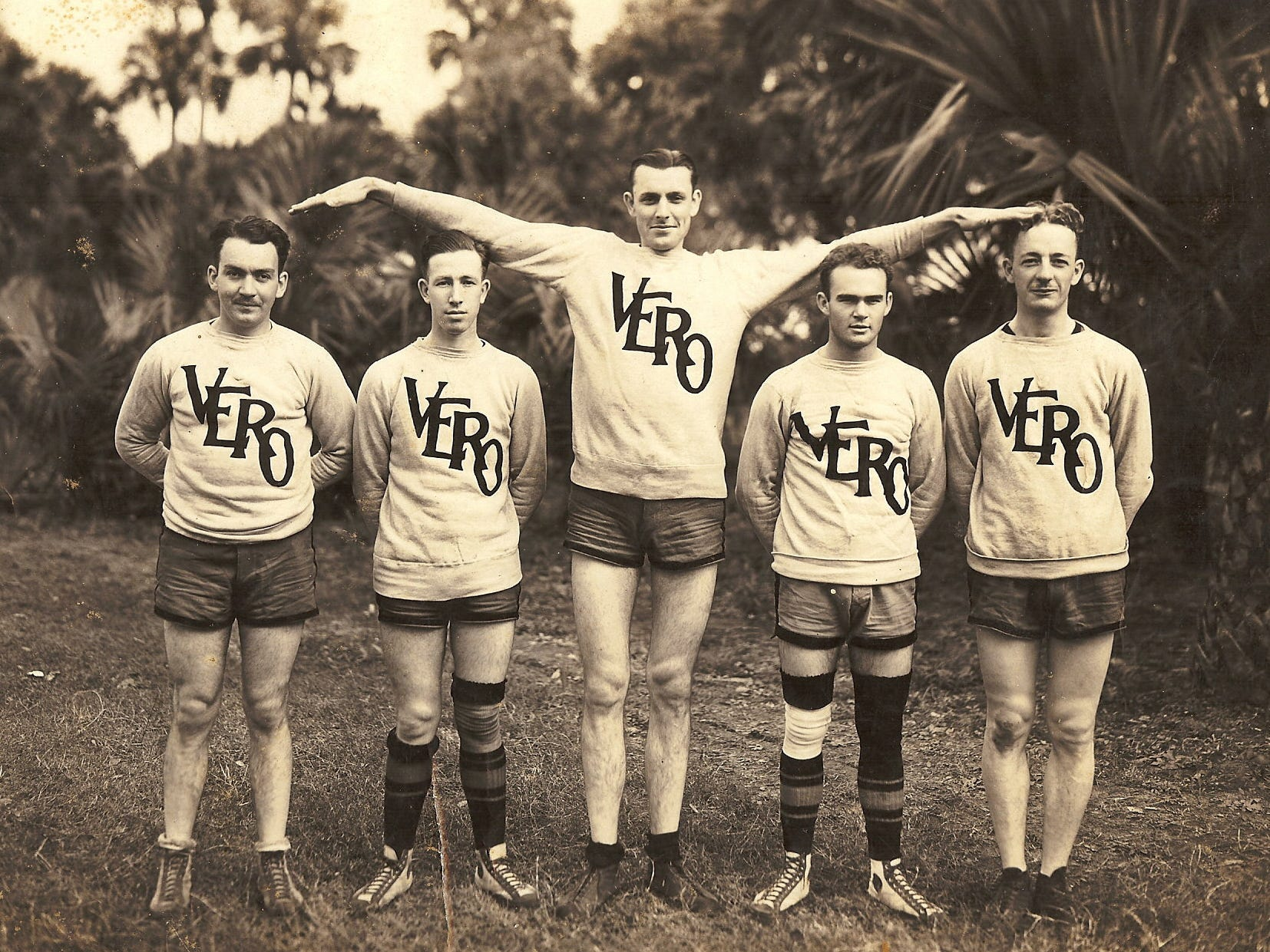 On March 13, 1926, the Vero Beach boys basketball team participated in the second annual state open championship tournament played in Vero Beach, and won against the Jacksonville Greenbacks. Pictured is Vero Beach's five-man basketball team in their orange and black uniforms from left: Sonny Horn, Rus Applegate, Tip Rice, Walter Shelton and Phillips. Local games were played on the Pocahontas Park basketball court.