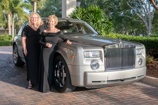 "2019 Glitter & Glam Gala Committee Chairs Colleen Holmes, left, and Kathy Carmody arrive to a ""Night at the Oscars"" April 13 at Harbour Ridge Yacht and Country Club in Palm City."