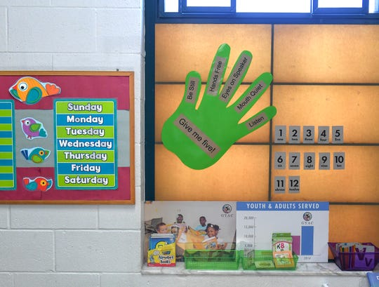 The wall inside the kindergarten after-school classroom is seen in the campus of the Gifford Youth Achievement Center on Wednesday, April 17, 2019, in Gifford. The center is currently expanding with the addition of a new 14,000-square-foot building, to contain eight new classrooms, holding up to 25 students each, for middle and high school students.