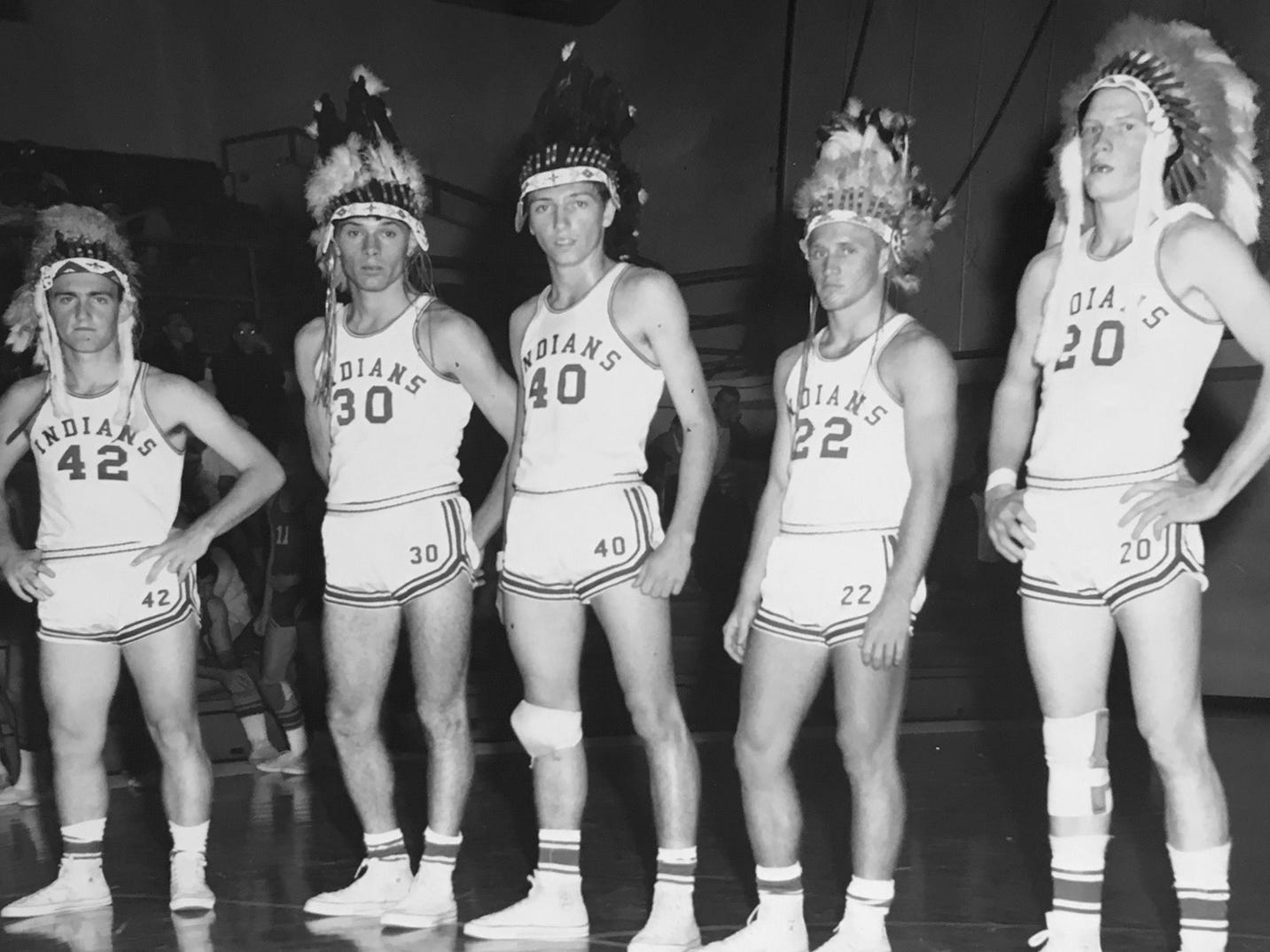 The 1966-67 Vero Beach Fighting Indians boys basketball team included Dick Tansey (from left), Darrell Jacobs, Gary Parris, Ron Reynolds and John Shulock.