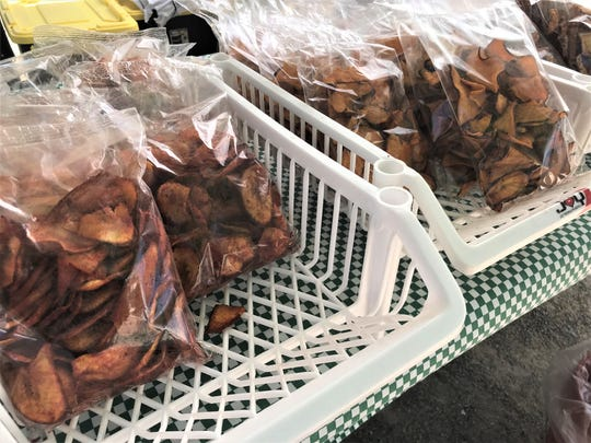 Dehydrated sweet potato chips, left, and dehydrated soybean chicharrones among the interesting and tasty finds available at Ardovino's Farmers Market.