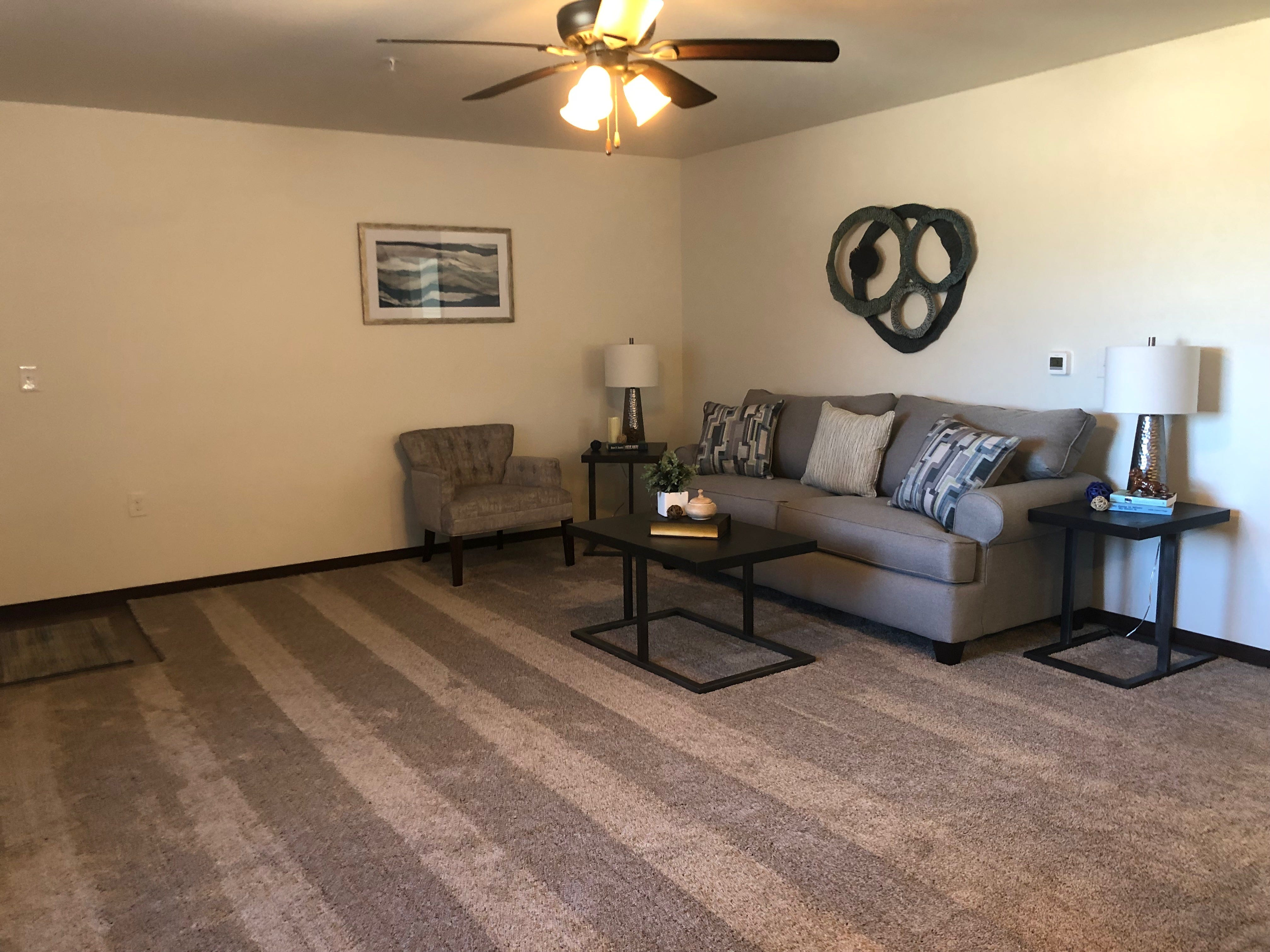 The living area of an apartment in the Westwood Estates development.