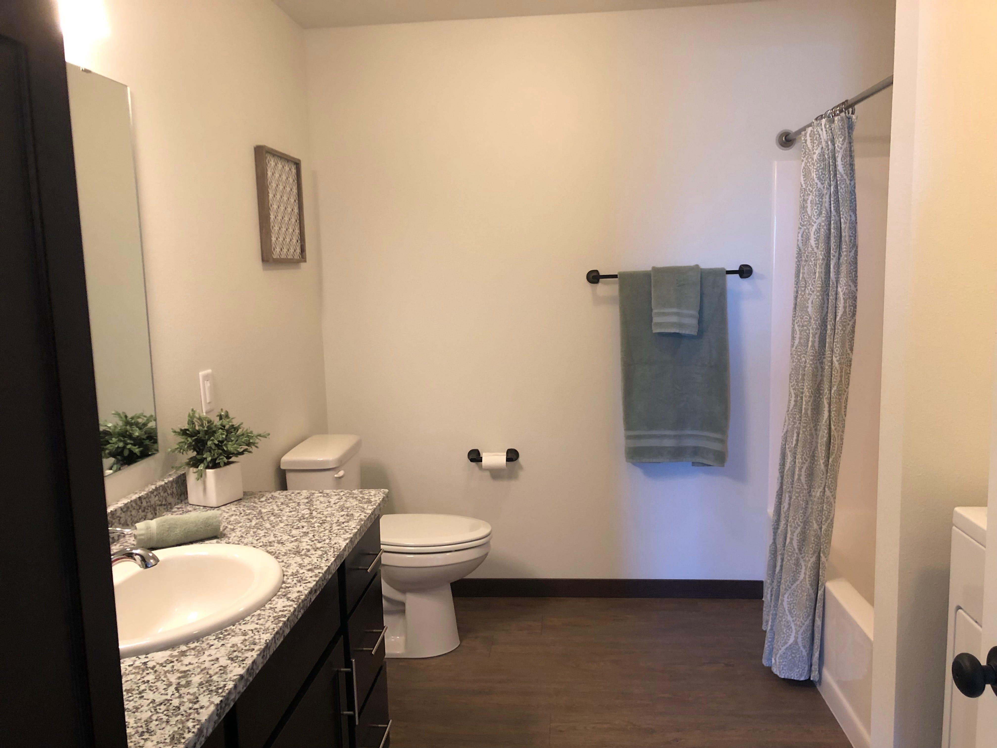 The bathroom of a Westwood Estates apartment.