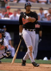 Derrick May during a game with the Baltimore Orioles.