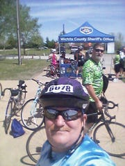 Participants at the Wichita County Sheriff's Office rest stop during the 2018 Circle Trail Tour.