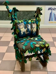 """Artist Helen Hamberg's chair honoring Maurice Sendak's """"Where the Wild Things Are"""" will be one of 60 chairs for sale for $300 each at the Wichita Falls Public Library's Chair-ity Art Reception from 5:30 to 7 p.m. Tuesday April 30. The chairs will next appear at the downtown After Hours Artwalk from 6 to 9 p.m. May 2 to buy outright. Opening bids also start that night for unsold chairs at $75 each, and the silent auction will run until June 6 in the Library."""