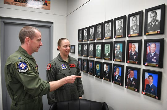 Lt. Col. Mark Hickie and his wife, Lt. Col. Elia Hickie, talk about previous commanders of the 89th Flying Training Squadron at Sheppard Air Force Base. Elia is the current commander and Mark commands the 88th Flying Training Squadron.