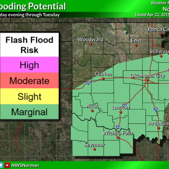 Wichita Falls area placed in a flood watch