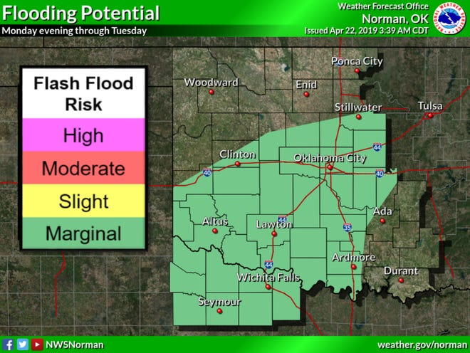 Heavy rain could cause local flooding Monday night into Tuesday.