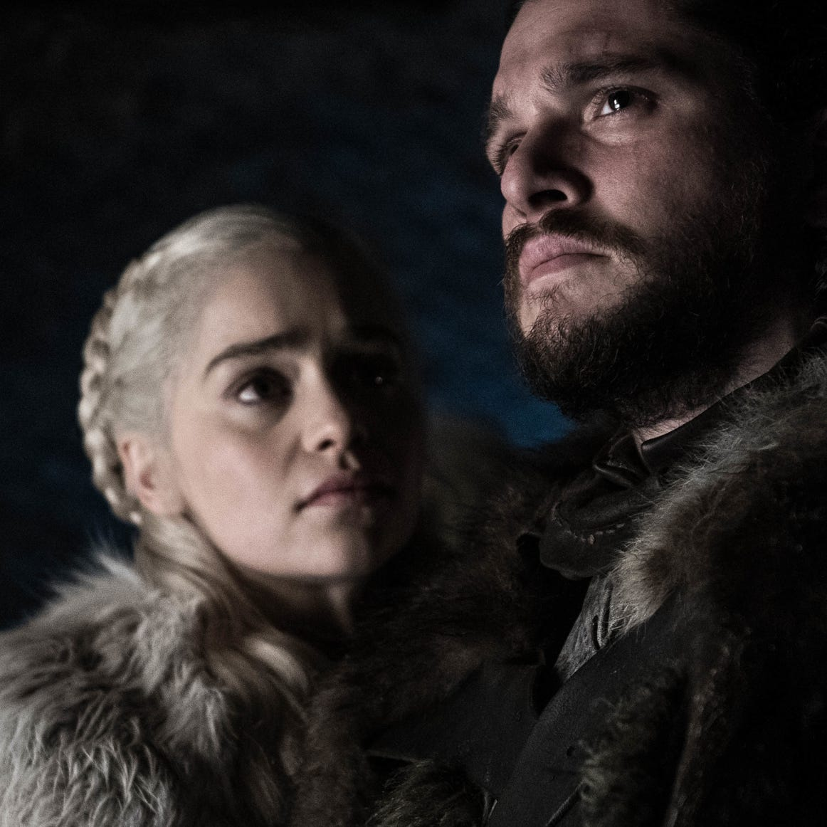 "Kit Harington as Jon and Emilia Clarke as Dany on ""Game of Thrones."""