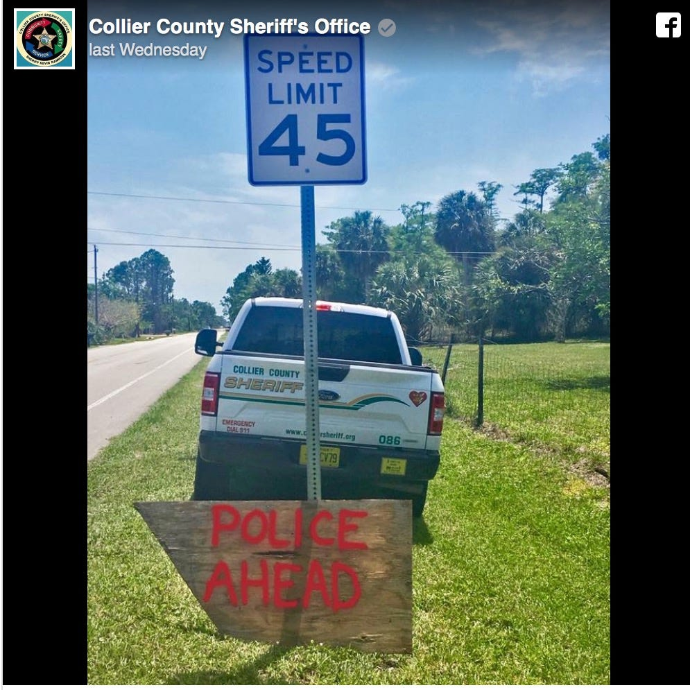 ​​​​​​​'Well played': Speed trap foiled by anonymous plywood sign, Collier deputies say