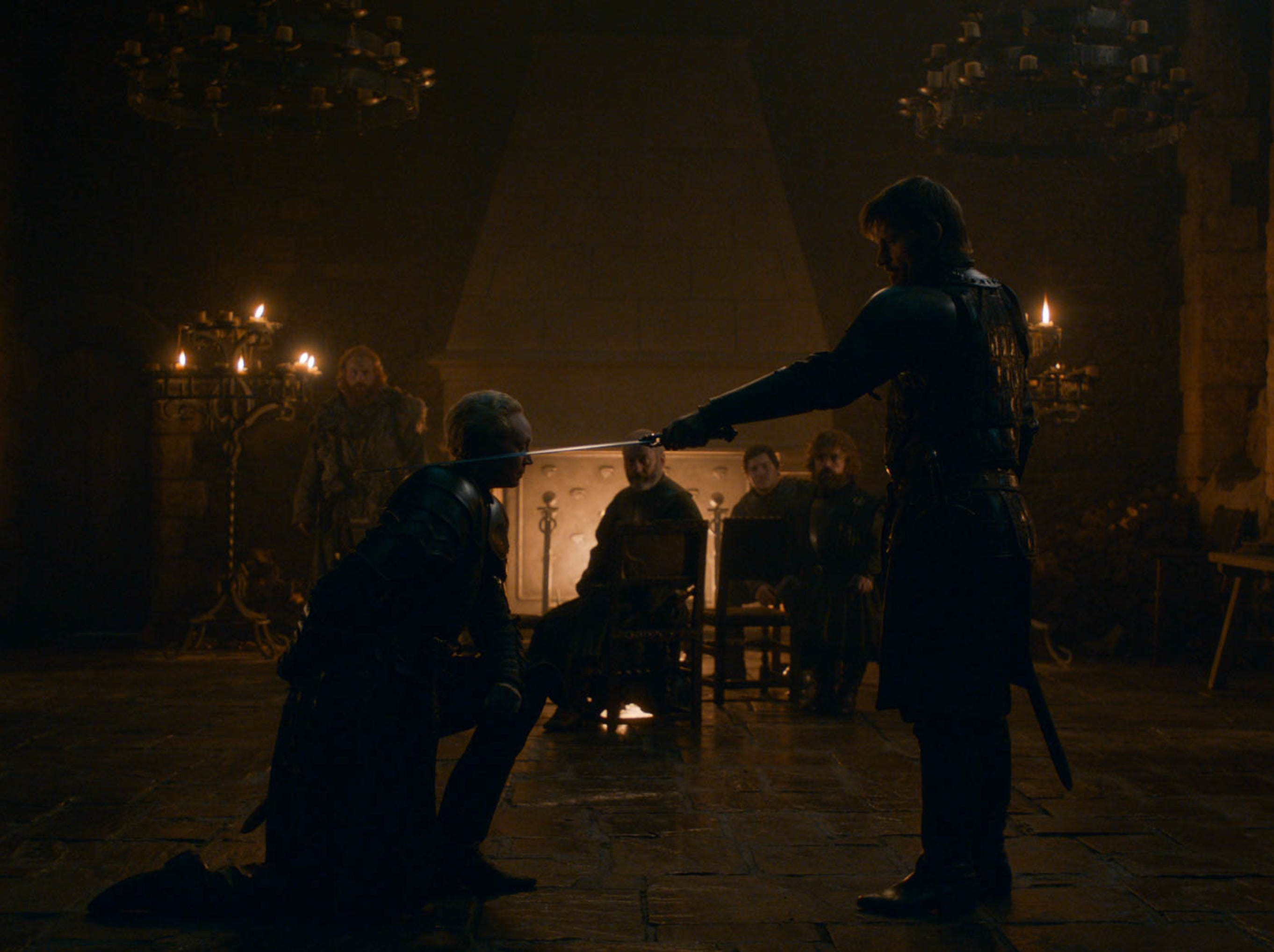 Gwendoline Christie as Brienne of Tarth, left, and Nikolaj Coster-Waldau as Jaime Lannister, both in the foreground, in 'Game of Thrones.'